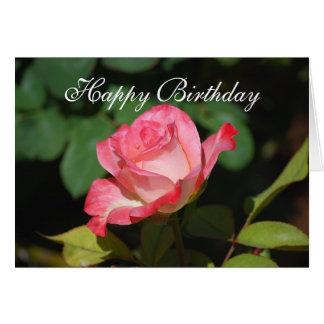 Rosa rosado del feliz cumpleaños y blanco romántic felicitaciones