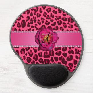 Rosa rosado del leopardo del monograma subió alfombrilla de ratón con gel