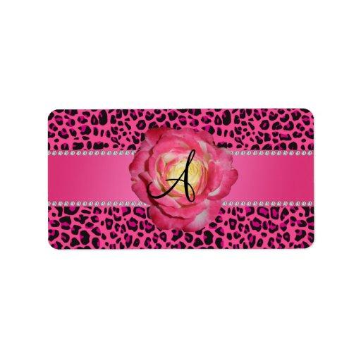 Rosa rosado del leopardo del monograma subió etiquetas de dirección