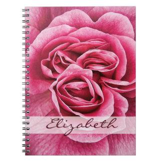 Rosa rosado personalizado libros de apuntes con espiral