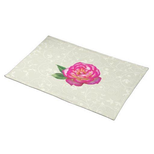 Rosa rosado y blanco manteles individuales