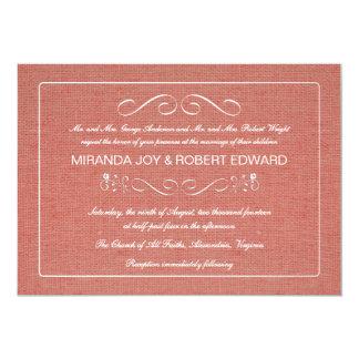 Rosa rústico del coral de la invitación del boda