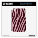 Rosa salvaje del estampado de zebra iPod touch 4G calcomanía