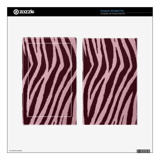 Rosa salvaje del estampado de zebra kindle fire skins