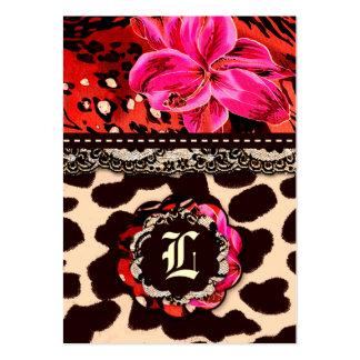 Rosa salvaje del leopardo y del cordón del lirio tarjetas de visita grandes
