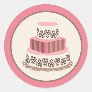 Rosa/sello del sobre del pastel de bodas de Brown Pegatina Redonda