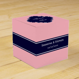 Rosa sólido, monograma del nombre de la cinta de cajas para regalos de fiestas