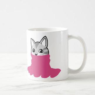Rosa sonriente del cuello alto del gato taza