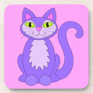 Rosa sonriente del gato del sobrediente del gatito posavasos de bebidas