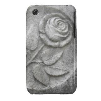 Rosa tallado en piedra iPhone 3 Case-Mate coberturas