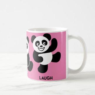 Rosa - taza de café feliz de 3 pandas