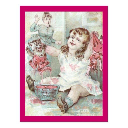 Rosa teñido gatito del chica tarjeta postal
