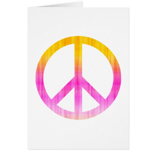 Rosa texturizado y naranja del símbolo de paz tarjeta de felicitación