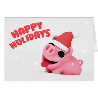Rosa the Pig Christmas Card