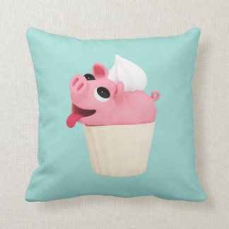 Rosa the Pig cup cake Throw Pillow