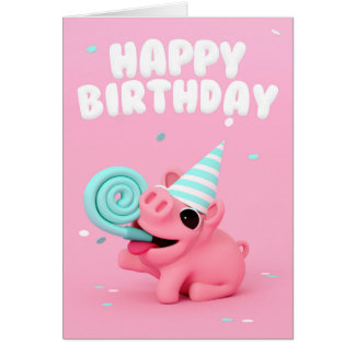 Rosa the Pig happy one Birthday card