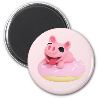 Rosa the Pig in a Donut Magnet