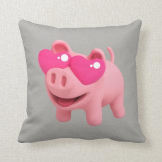 Rosa the Pig Love Eyes Throw Pillow