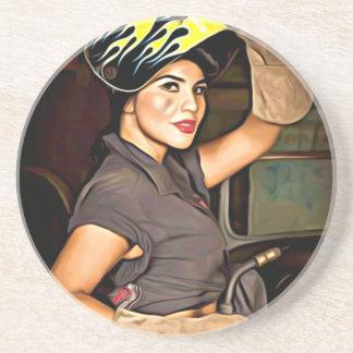 Rosa-the-welder Drink Coaster