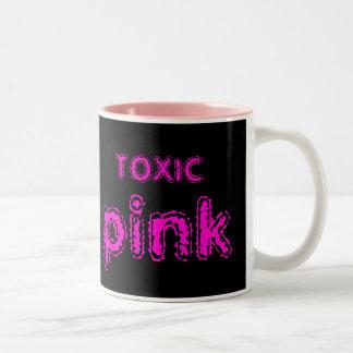 rosa tóxico taza de dos tonos