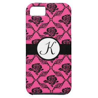 Rosa-und Schwarz-Spitzen- Blumenmonogramm iPhone 5 Case-Mate Cárcasa