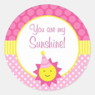 Rosa usted es mi cumpleaños del lunar de la sol 1r pegatina redonda