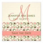 Rosa verde de marfil de la invitación de la fecha invitación 13,3 cm x 13,3cm