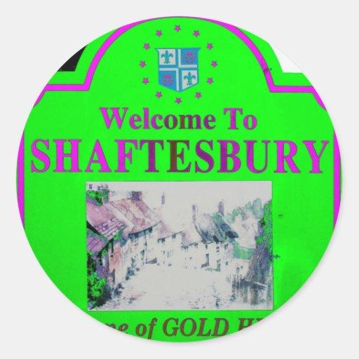 Rosa verde de Shaftesbury Pegatina Redonda