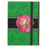 Rosa verde del damasco del monograma subió