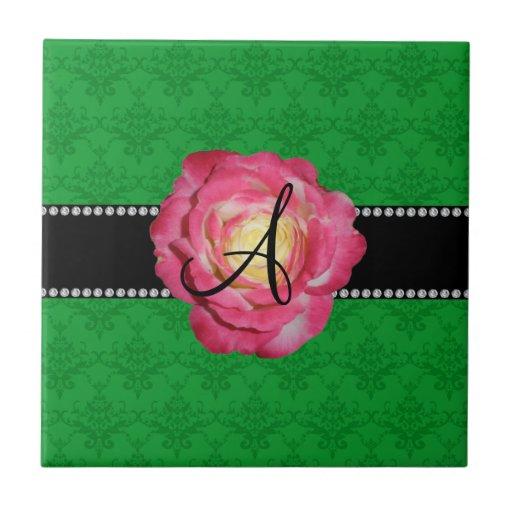 Rosa verde del damasco del monograma subió azulejo cuadrado pequeño