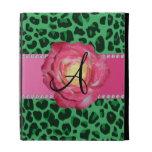 Rosa verde del estampado leopardo del monograma su