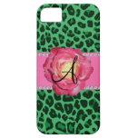 Rosa verde del estampado leopardo del monograma su iPhone 5 fundas
