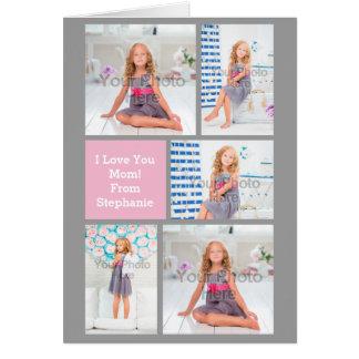 Rosa/verde/gris de encargo del collage de la foto tarjeta de felicitación