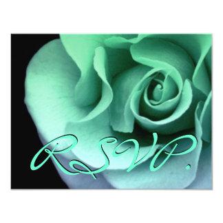 Rosa VERDE RSVP que casa la tarjeta R458 de la Invitación 10,8 X 13,9 Cm