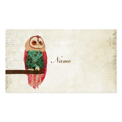 Rosa Vintage Owl Business Card/Tags