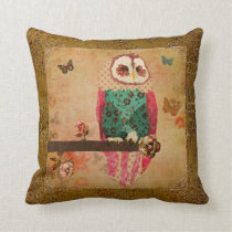 Rosa Vintage  Owl  Gold Mojo Pillow