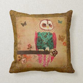 Rosa Vintage  Owl  Gold Mojo Pillow