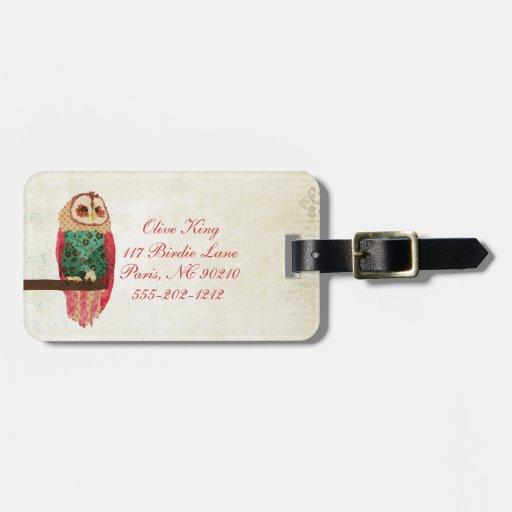 Rosa Vintage Owl  Luggage Tag