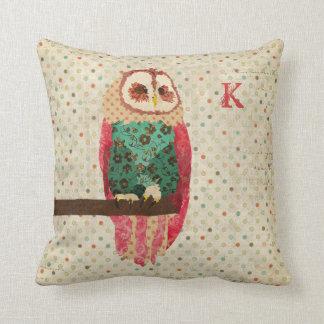 Rosa Vintage  Owl  Polkadot Mojo Pillow