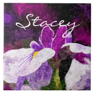 Rosa violeta púrpura de la flor Painterly hermosa  Azulejos Ceramicos