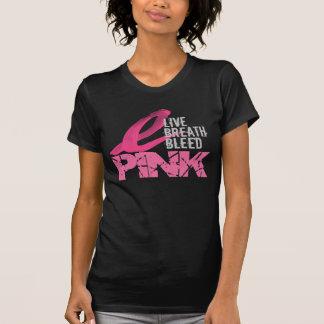 Rosa vivo del corrimiento de la respiración camisetas