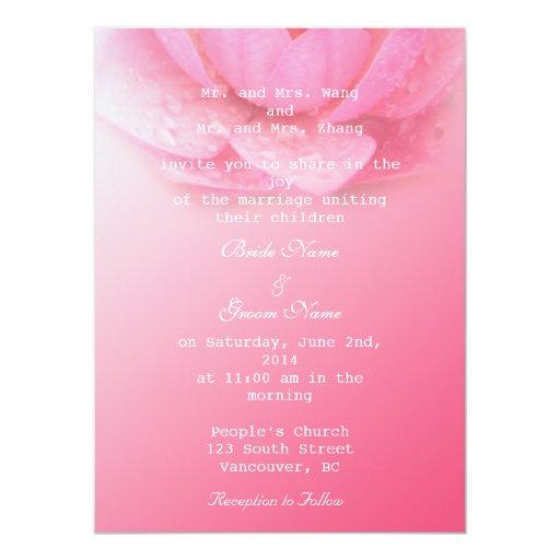 """rosa waterlily en fondo rosado. 。 del 粉红色睡莲 invitación 5.5"""" x 7.5"""""""