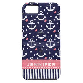 Rosa y ancla de la marina de guerra iPhone 5 fundas