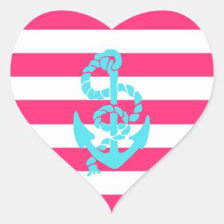 Rosa y ancla del trullo pegatina en forma de corazón