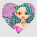 Rosa y arte del pixel del Faery del trullo Calcomania De Corazon Personalizadas