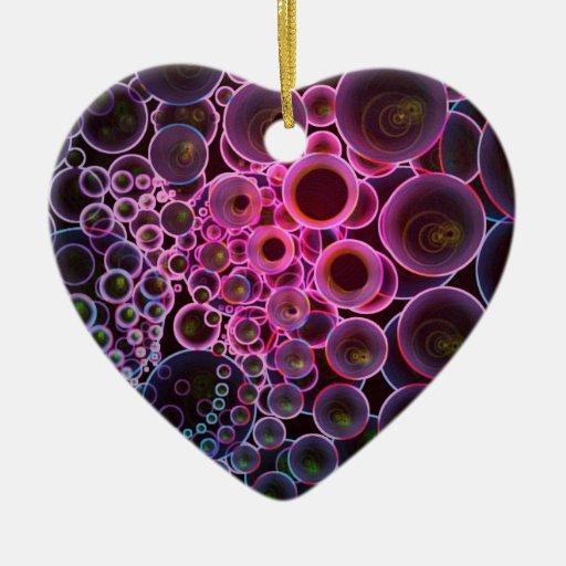 Rosa y arte oscuro de los círculos del extracto adorno de cerámica en forma de corazón