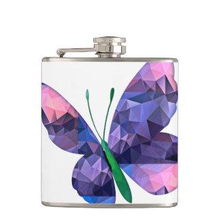 Rosa y azul de la mariposa del mosaico del polígon