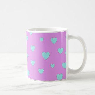 Rosa y azul de Lite con los corazones Taza De Café
