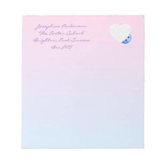 Rosa y azul del diseño del corazón bloc de notas