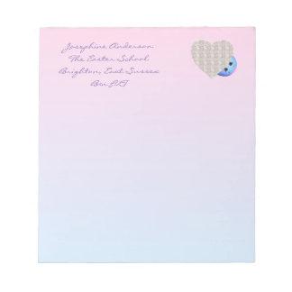 Rosa y azul del diseño del corazón bloc de papel